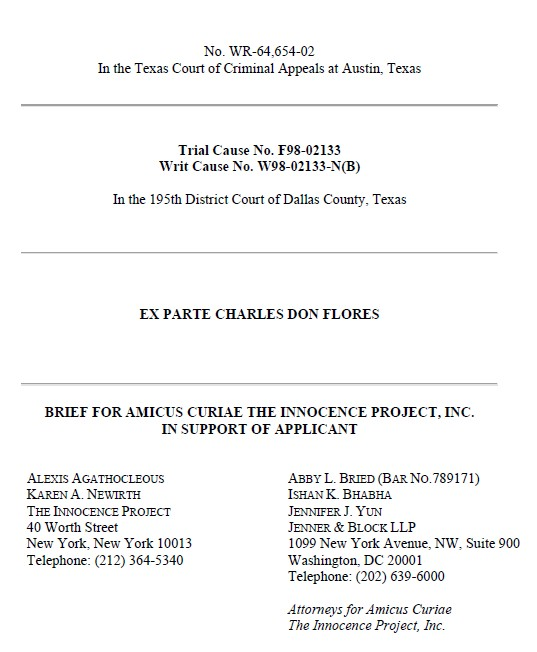Amicus Curiae Brief filed by the Innocence Project